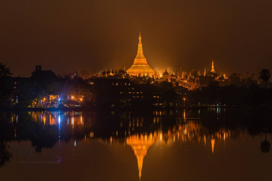 Another photo of Shwedagon reflection